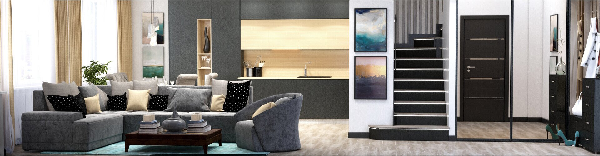 Дизайн интерьера квартиры © AbiStyle Дизайн студия в Киеве