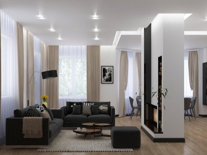 Интерьер загородного дома 250м² с.Нова, Дизайн студия © AbiStyle