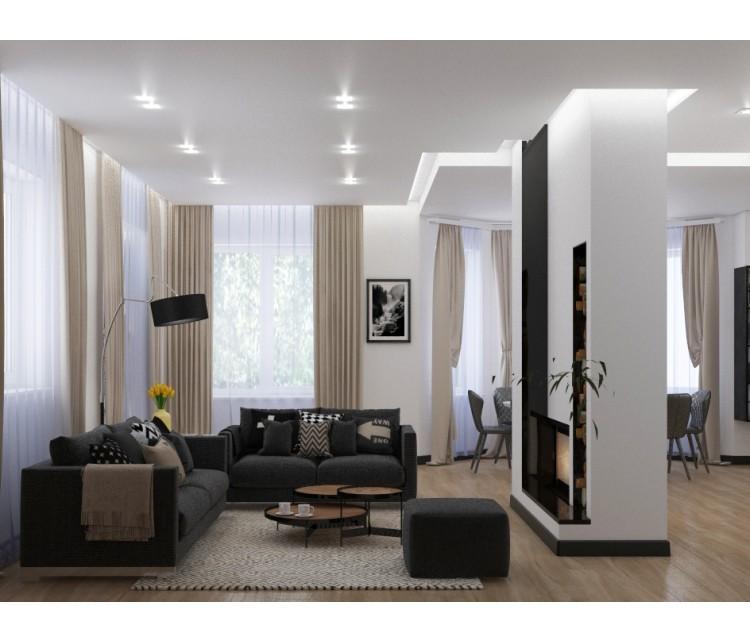 Дизайн проект загородного дома 250м²  с.Нова, Дизайн студия © AbiStyle