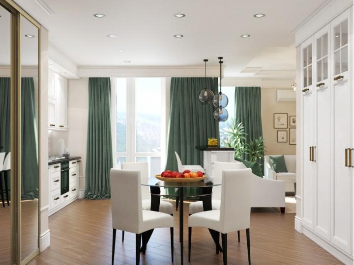 Интерьер квартиры 65м² ЖК Французский бульвар, Дизайн студия © AbiStyle