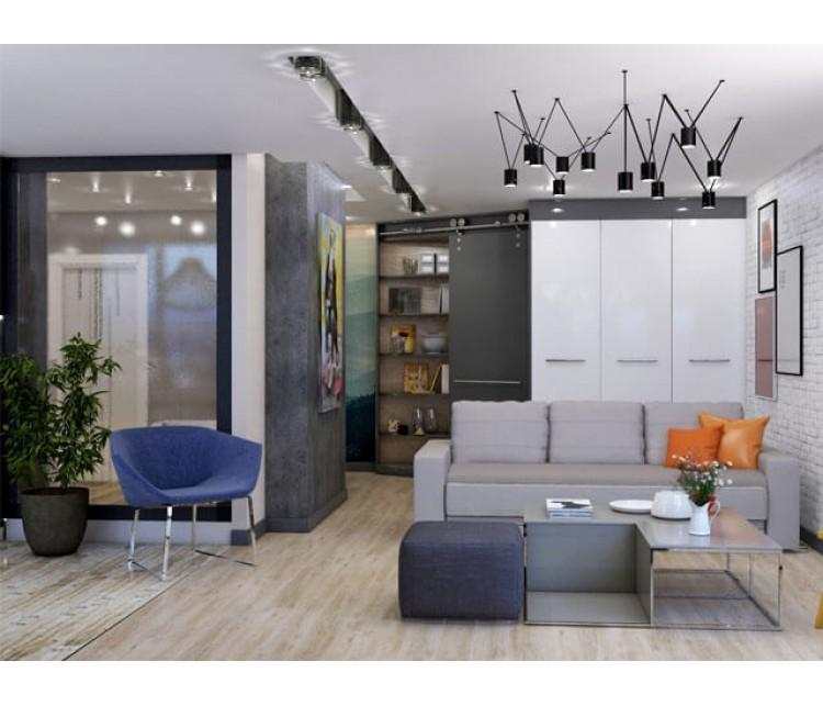 Дизайн проект квартиры 52м² ЖК 4 Сезона, Дизайн студия © AbiStyle