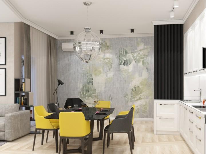 Интерьер квартиры 108м² ЖК Busov Hill, Дизайн студия © AbiStyle