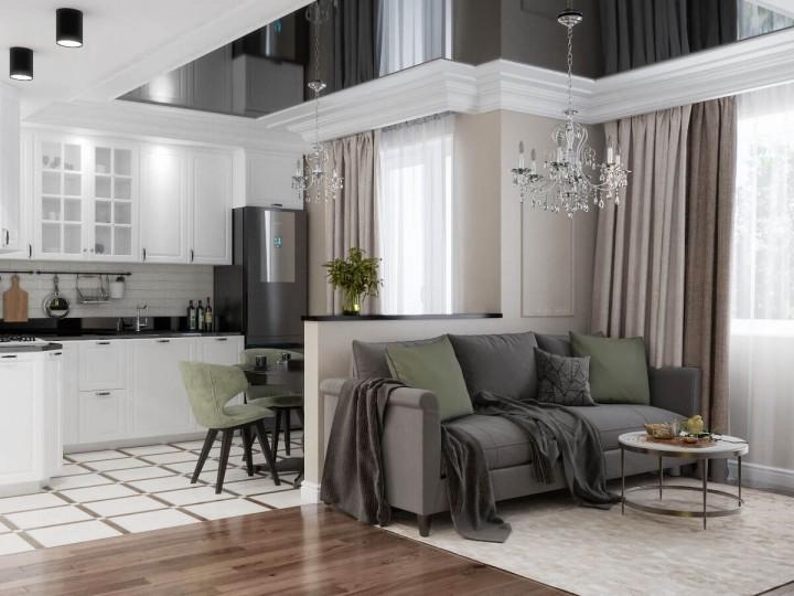 Интерьер квартиры 43м² ЖК Obolon SKY, Дизайн студия © AbiStyle
