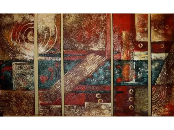 """Картина из пяти частей """"абстракция в красном"""" , Дизайн студия © AbiStyle"""