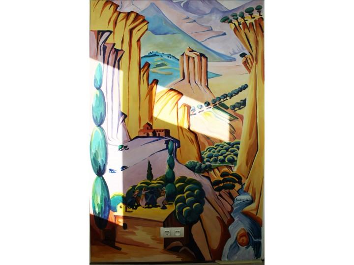 """Художественная роспись на балконе """"Восточные мотивы"""", Дизайн студия © AbiStyle"""