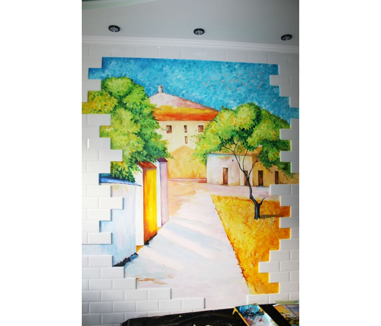 Художественная роспись на кухне, Дизайн студия © AbiStyle