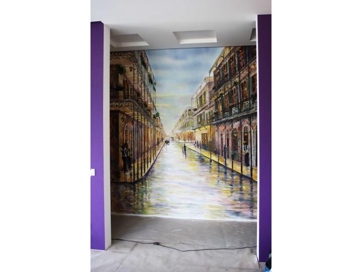 Художественная роспись в коридоре, Дизайн студия © AbiStyle