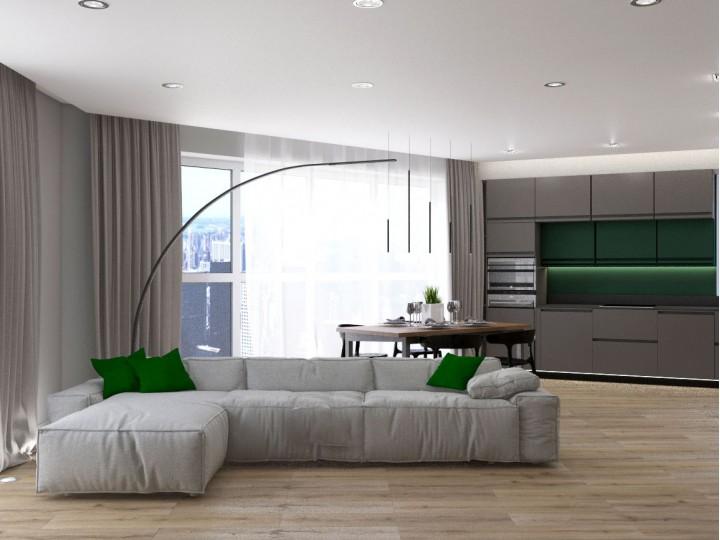 Интерьер квартиры 83м² ЖК Квартет, Дизайн студия © AbiStyle
